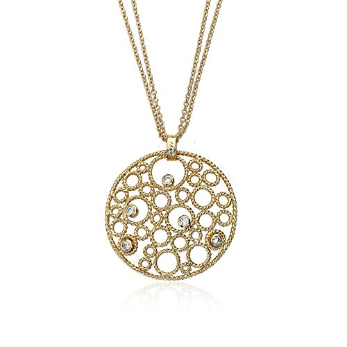 Riccova Retro Rhodium-Plated Cubic Zirconia Studded Bubble Medallion Pendant Necklace
