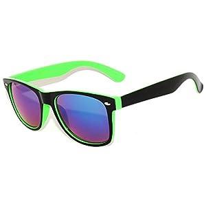 Black & Green – Two Tone Vintage Sunglasses Mirrored Blue Lens Retro