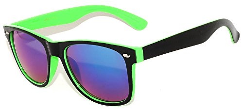 Black & Green - Two Tone Vintage Sunglasses Mirrored Blue Lens Retro ()