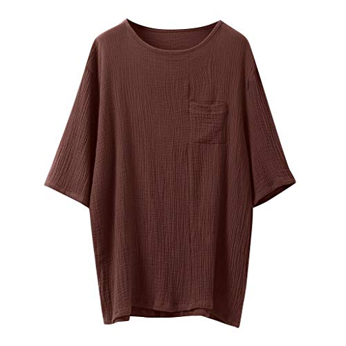 iLXHD Men's Baggy Cotton Linen Crew Neck SOID Color Short Sleeve Retro T Shirts Tops Blouse Brown