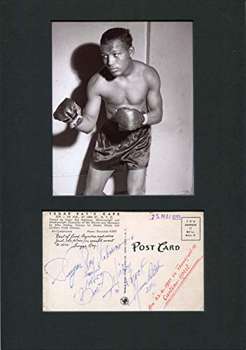 - Sugar Ray Robinson BOXER autograph, signed postcard mounted
