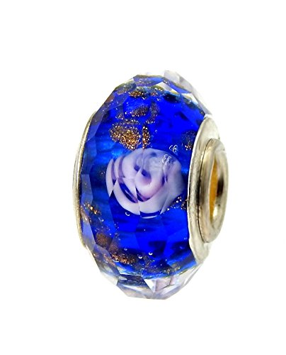 J&M Set of 2 Handmade Faceted Blue Murano Glass Charm Bead with Roses for Charms Bracelets ()
