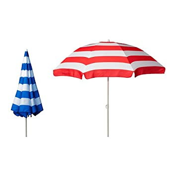 sonnenschirm ikea ramsa verstellbar rot oder blau weia gestreift gr 160 cm fur balkongelander