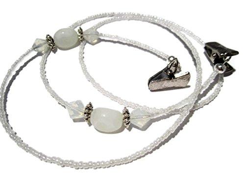 ATLanyards White Decorative Beaded Eyeglass Holder, Beaded Eyeglass Chain With Clips by ATLanyards