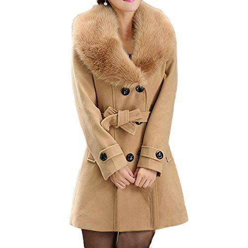 Classic Marca Cappotto Lunga Coat Caldo Di Da Vintage A Addensare Braun Trench Petto Collo Elegante Manica Fashion Donna Inverno De Lana Pelliccia Doppio Mode Parka F1cTlKJ3