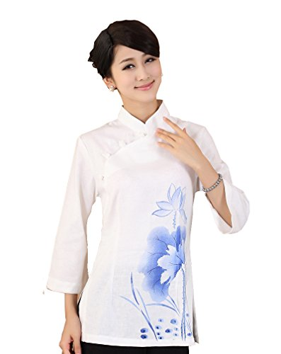 jtc-linen-womens-chinese-style-3-4-sleeve-blouse-white-lotus-mbust-36