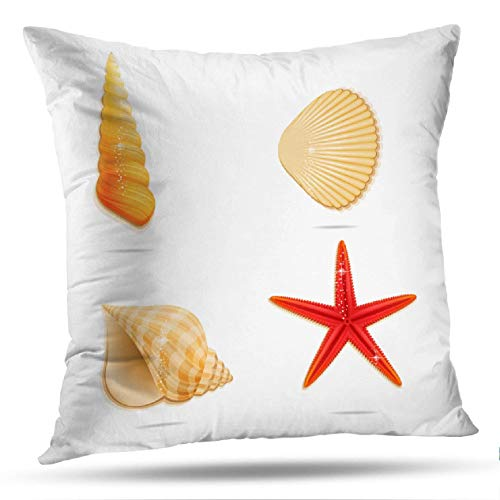 - Geericy Sea Star and Shells Decorative Throw Pillow Covers, Sea Ocean Symbols Yellow and Red Color Sea Star Fish Beach Cushion Cover 18X18 Inch for Bedroom Sofa
