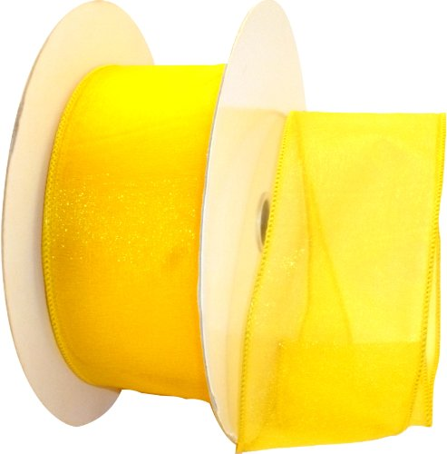 Reliant Ribbon Sheer Lovely We Ribbon, 2.5-Inch by 50-Yard, Yellow -