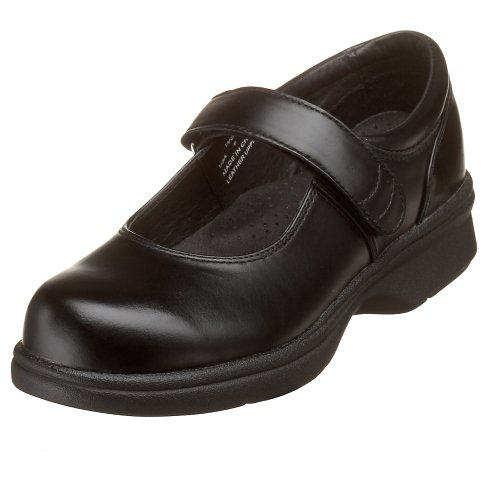 Propet Women's W0029 Mary Jane Walker,Black Smooth,9 W (US Women's 9 D)