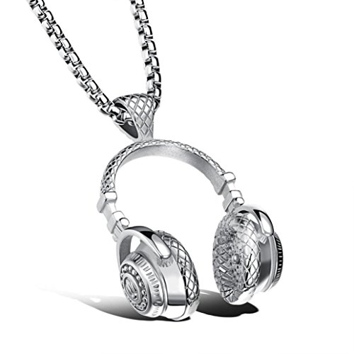 Kollmert Men Boys Hip Hop Punk Style Microphone Earphone Shape Pendant Necklace Jewelry (Silver, alloy)