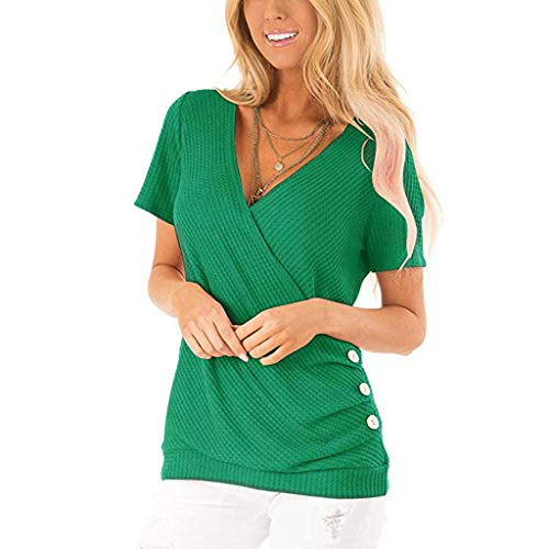 Aniywn V-Neck Women's Button Short Sleeve Casual Loose Plain T-Shirts Tunic Tops Blouse S-XXL Green