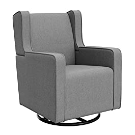Graco Remi Upholstered Swivel Glider Horizon, Gray, Cleanable Upholstered Comfort Rocking Nursery Swivel Chair