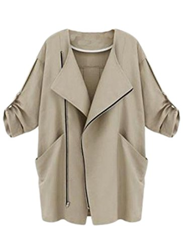 Women-Spring-Zipper-Lapel-Cuffed-Sleeves-Casual-Thin-Trench-Coat-Jacket-Outwear