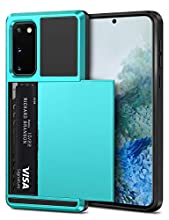 Vofolen for Galaxy S20 Case Wallet Credit Card Holder ID Slot Sliding Cover Hidden Back Pocket Scratch-Proof Dual Layer Hybrid Bumper Rubber Armor Protective Hard Shell for Galaxy S20 6.2 (Sky Blue)