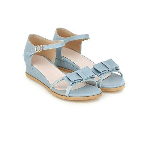 VogueZone009 Mujeres Sólido Mini Tacón Puntera Abierta Hebilla Sandalia de Cuña con Lazos Azul