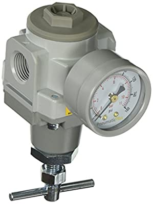 "PneumaticPlus SAR3000T-N03BG Air Pressure Regulator T-Handle, 3/8"" Pipe Size, NPT with Gauge and Bracket"