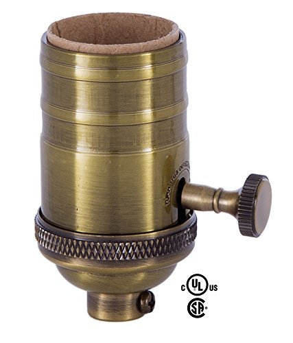 B&P Lamp Heavy Turned Brass Socket With Brass Knob, Antique Brass Finish 3-Way Function, No Uno (Brass Lamp Socket)