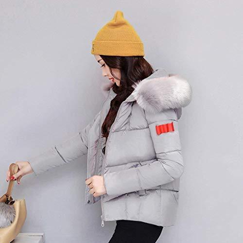 Thermo avec Unicolore Hiver Manches Longues Manteau Fermeture A Capuche avec Fourrure Costume Art Poches Femme Warm Gaine Courte qwUatt