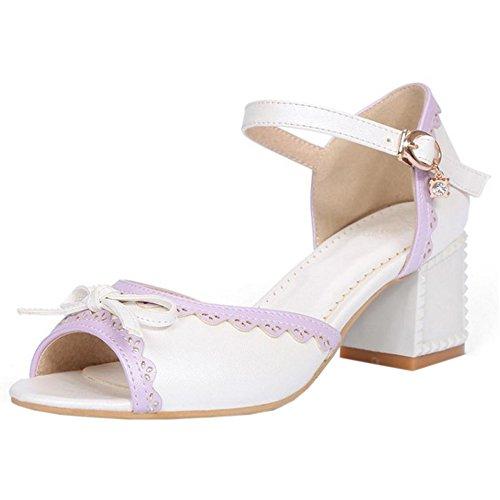 Coolcept Women Cute Sandals Mid Heel White