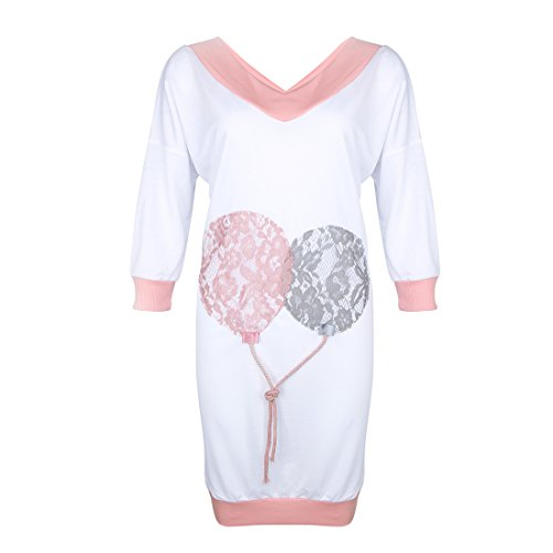 rose Robe Long Shirt Manches Jiayiqi T 3 Pull en V Air Femmes Col 4 Blanc Ballon 8xqUwxZTR