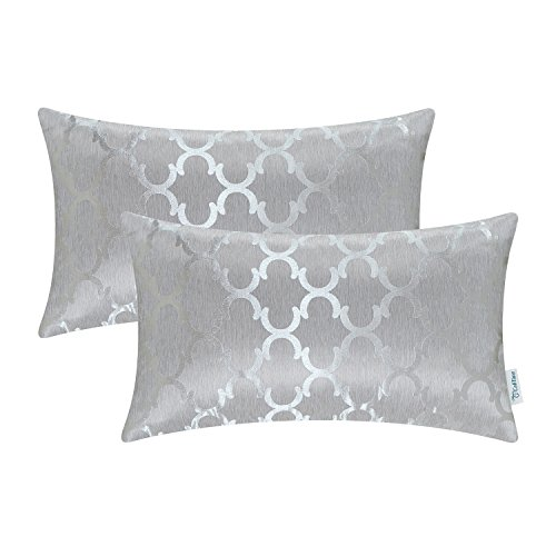 Home Accents Set - CaliTime Pack of 2 Cushion Covers Bolster Pillow Cases Shells for Home Sofa Couch, Modern Quatrefoil Accent Geometric, 12 X 20 Inches, Silver Gray