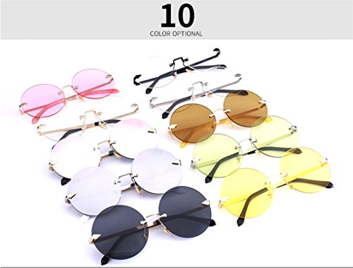 ebc19e17c1 GAMT Oversized Arrow Rimless Round Sunglasses for Men and Women ...