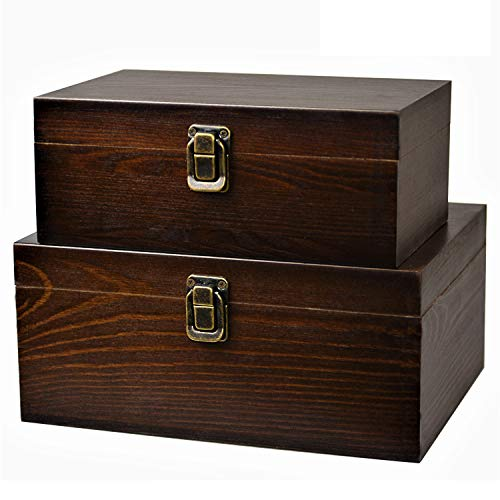 Hinged Lid - 2 Pack Wood Box Handcrafted Decorative Wooden Storage Case Cabinet Container Hinged Lid with Latch Lock Country Rustic Style Organizer for Teabag Album Photo Trinkets Gift Card Collection Coffee Color