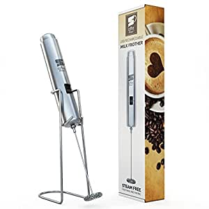 Milk Frother - Inskin CoffeeMania Rechargeable [All Stainless Steel] HandHeld [Dual Speed] Milk Frother Whisk for Latte, Cappuccino, Matcha, Hot Chocolate and more.