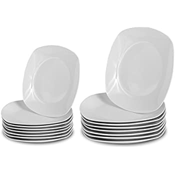 Klikel 16 Piece White Square Dinnerware Set - 8 Dinner Plates (10-inch)  sc 1 st  Amazon.com : white square dinner plate - Pezcame.Com