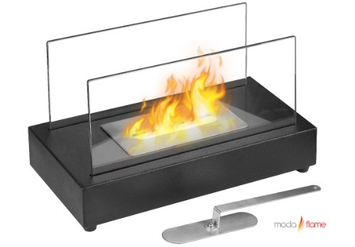 Regal Flame Avon Ventless Indoor Outdoor Fire Pit Tabletop Portable Fire Bowl Pot Bio Ethanol Fireplace in Black - Realistic Clean Burning Like Gel Fireplaces, or Propane Firepits (Moda Flame Vigo Table Top Ethanol Fireplace)
