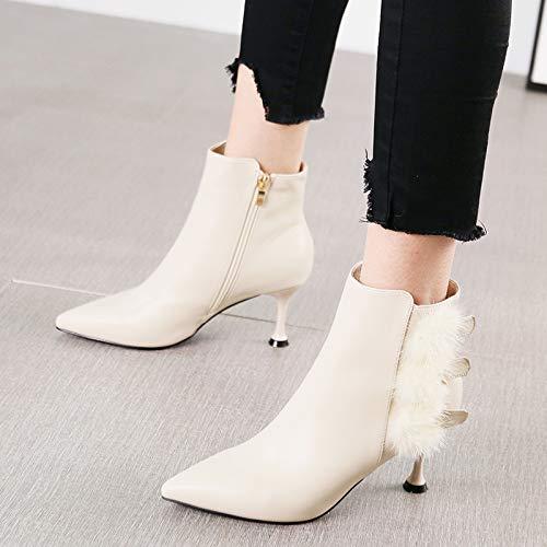 HRCxue Pumps Mode Spitze Stiletto Heels sexy Wilde Seitenreißverschluss Stiefel Stiefel Stiefel Frauen