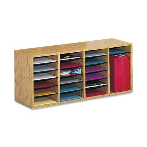 Safco Products Wood Adjustable Literature Organizer, 24 Compartment, 9423MO, Medium Oak, Durable Construction, Removable Shelves, Stackable from Safco Products