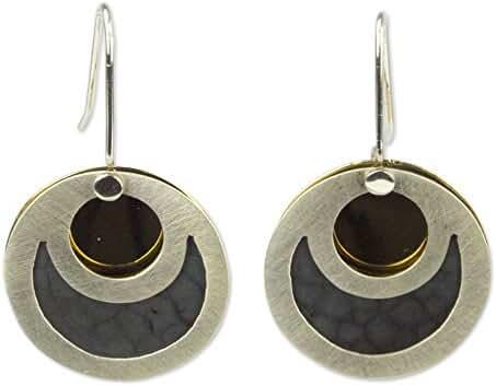 NOVICA .925 Sterling Silver Dangle Earrings 'Maya Eclipse'