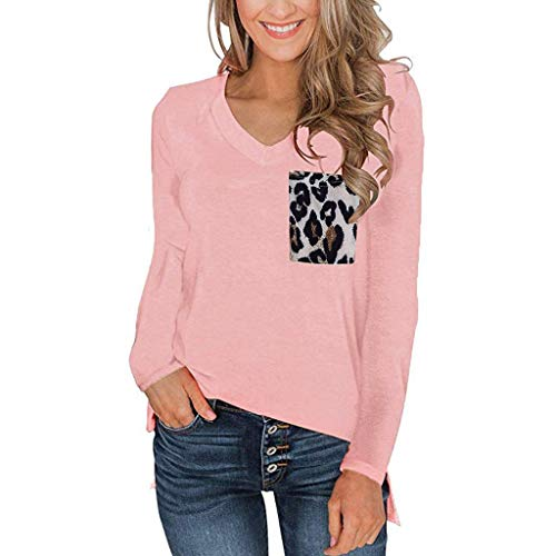 ANJUNIE Women's Long Sleeves T Shirt with Leopard Pocket V Neck Casual Tops Basic Tees(Pink,M) ()