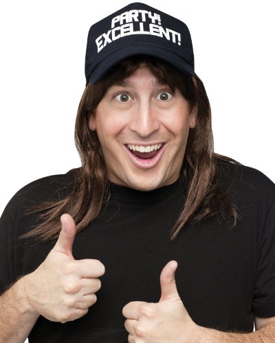 Excellent! Wayne's World Wig and Hat Costume Accessory Kit  ()