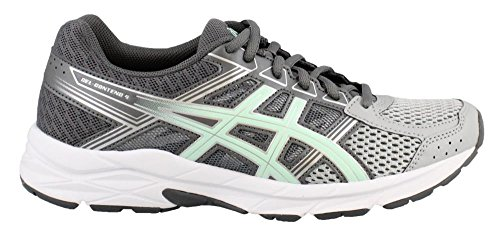 ASICS Womens Contend 4 Running Sneaker, Mid Grey/Glacier Sea/Silver, Size 8.5 Wide