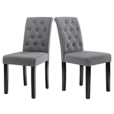 LSSBOUGHT Button-tufted Upholstered Fabric Dining Chairs, Set of 2 (Gray)