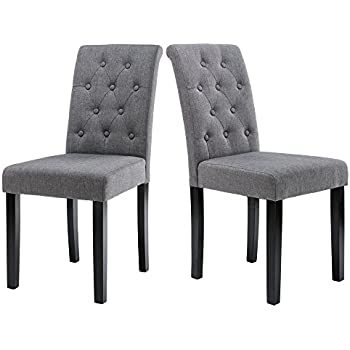 Great LSSBOUGHT Button Tufted Upholstered Fabric Dining Chairs With Solid Wood  Legs, Set Of 2