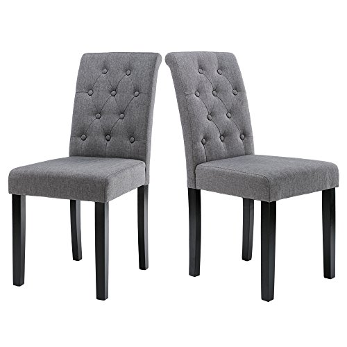 LSSBOUGHT Button-tufted Upholstered Fabric Dining Chairs with Solid Wood Legs, Set of 2 (Style Fabric Upholstered Chair)