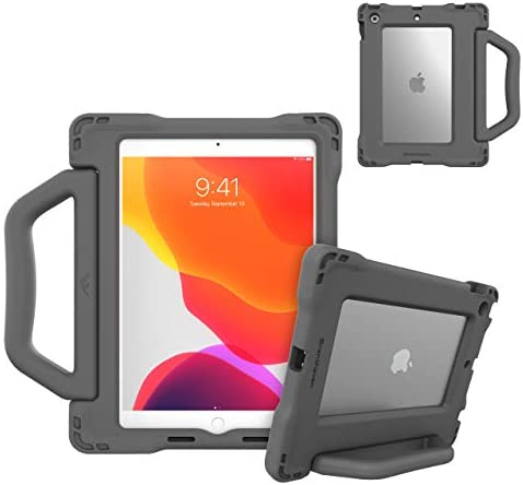 Brenthaven Edge BounceCarry Handle for Apple iPad 10.2 Gray Case for Kids and Students - Durable EVA Foam Rugged Protection from Drops and Impacts