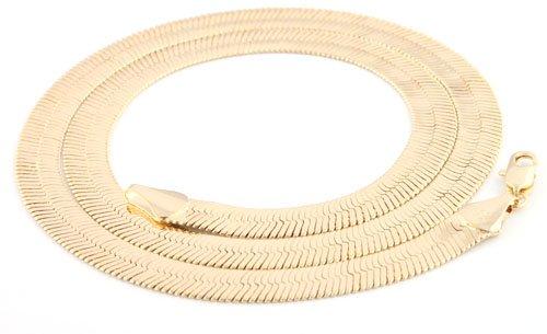 Goldtone 11mm Herringbone Chain Necklace (24 Inches) [Jewelry]
