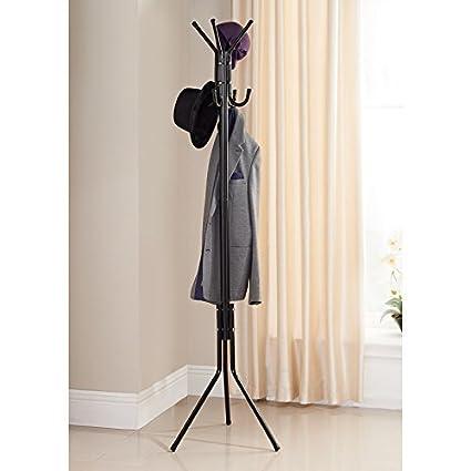 8 Hook Steel Hat Clothes Jacket Coat Umbrella Storage Organiser Stand Rack 178cm BLACK