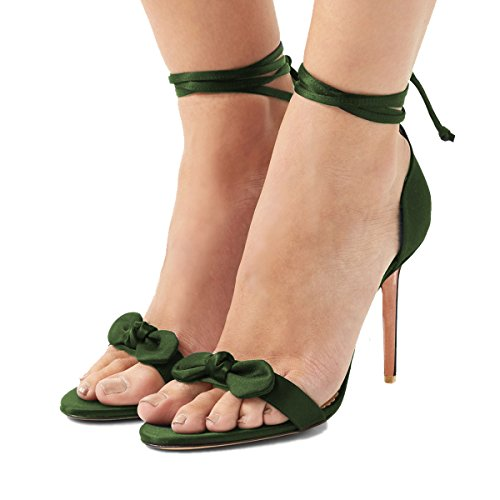 FSJ Women Satin Open Toe Sandals Ankle Wrap Heels Lace Up Bowknot Shoes For Party Size 11 (Satin Ankle Wrap Sandal)