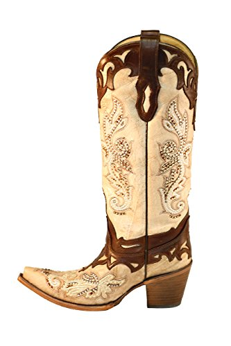 Studs Bone Boots and Crackle C2825 Crystal and Tan Corral wPRXn