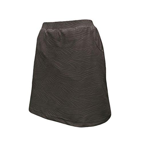 (Monterey Club Ladies Lightweight Embossed Tonal Print Texture Knit Skort #4801 (Black, Large))