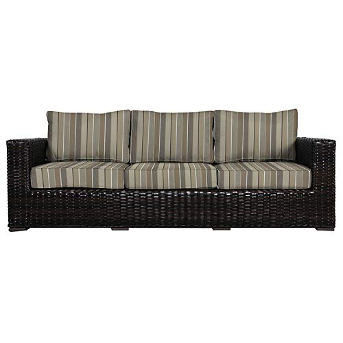 Envelor Santa Monica Outdoor Patio Furniture Sofa Chair Lightweight Wicker Rattan Base Includes Milano Char Sunbrella Cushions (Sofa Milano Garden)