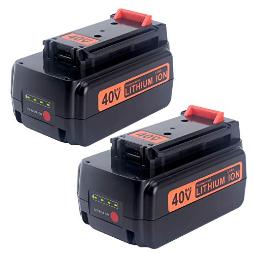 Biswaye 2 Pack 3.0Ah 40V Lithium Battery LBXR36 Replacement for Black and Decker 40V Max Cordless Power Tool LST540 LST136W Lithium Battery LBXR36 LBXR2036 LBX1540 LBX2040 LBX2540 ()
