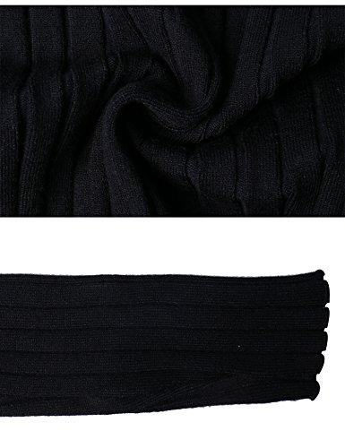 Chic À Moulant Col Femme Tricot La Mode Pull Noir Chaussette Montant Sous Chaud Basique Dame Abollria Ajusté Roulé Manches Haut Longues Hiver Moderne qaYpfw