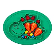 Qshare Toddler Plates, One-Piece Baby Plate for Babies Toddlers and Kids, Portable BPA-Free FDA Approved Strong Suction Plates for Toddlers, Dishwasher and Microwave Safe Silicone Placemat 11x8x1 Inch