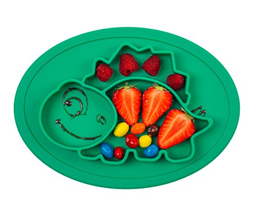 Qshare Toddler Plate, Baby Plate for Babies Toddlers and Kids, Portable BPA-Free FDA Approved Strong Suction Plates for Toddlers, Dishwasher and Microwave Safe Silicone Placemat 11x8x1 inch -
